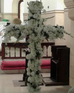 The cross at the front of the church in Cairo where Peter and Jane celebrated Easter. Christ is risen! He is risen indeed!